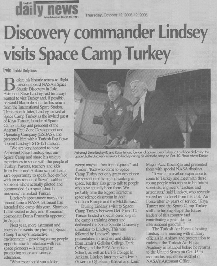 Turkish Daily News && Discovery commander Lindsey visits Space Camp Turkey