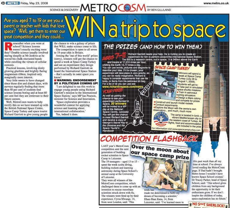 METROCOSM && Win a trip to space