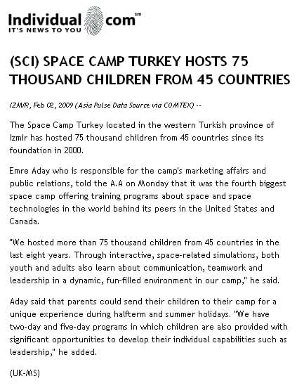 individual.com && Space Camp Turkey Hosts 75 Thousand Children From 45 Countries