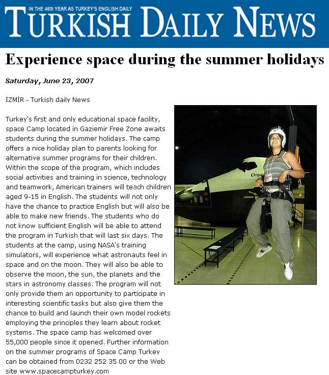 Turkish Daily News && Experience Space during the summer holidays