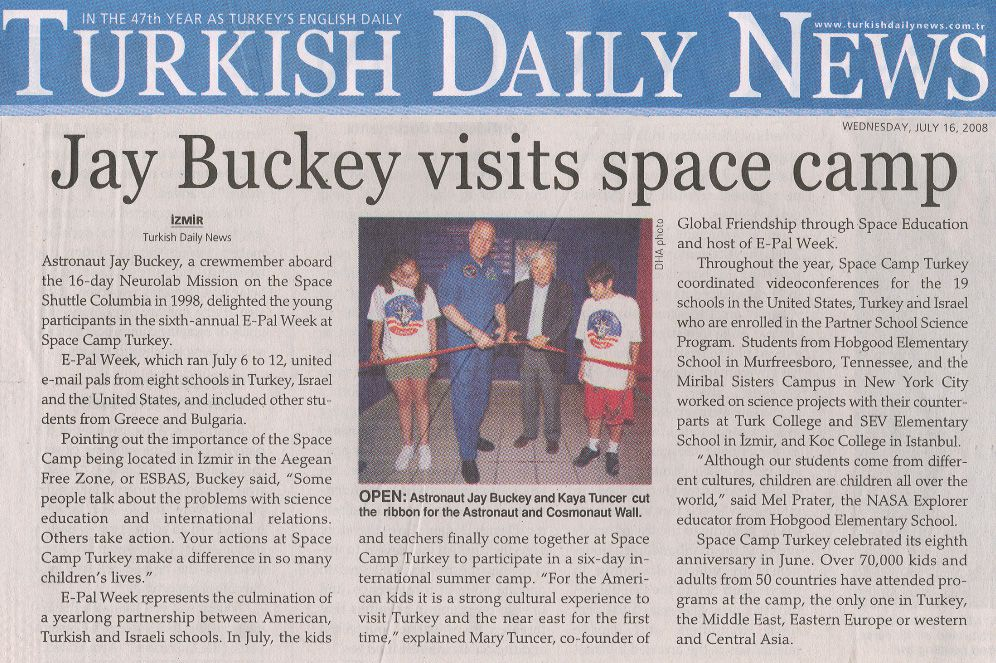Turkish Daily News && Jay Buckey visits space camp