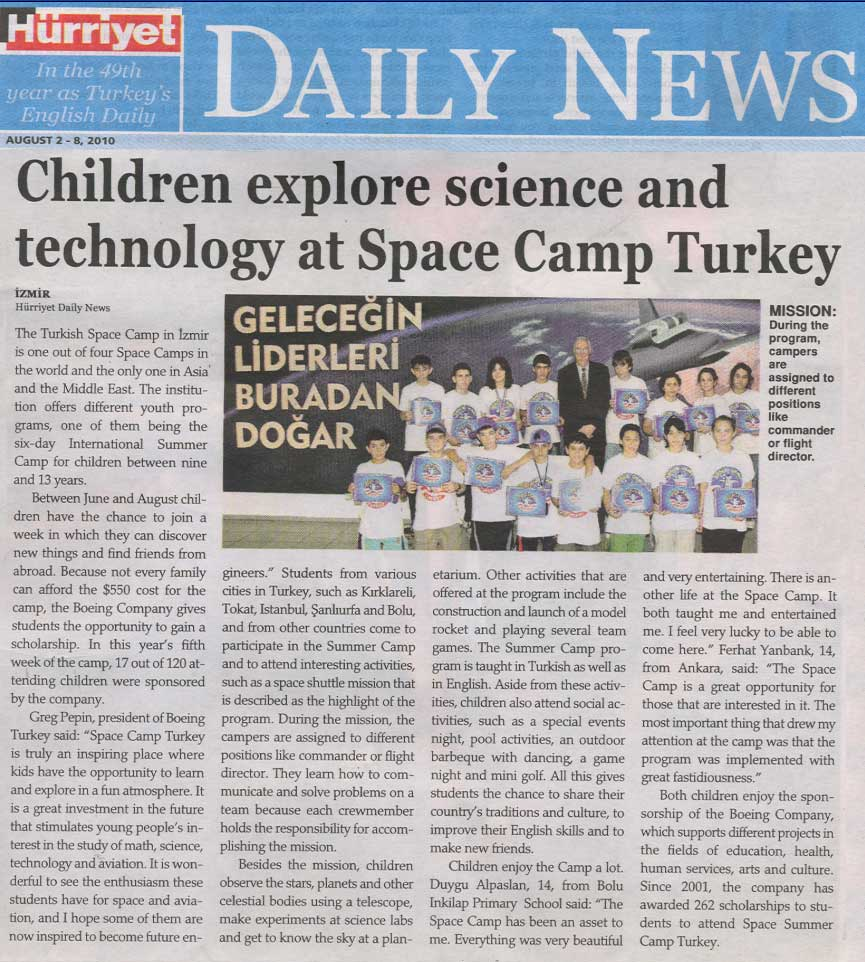 Turkish Daily News && Children explore science and technology at Space Camp Turkey